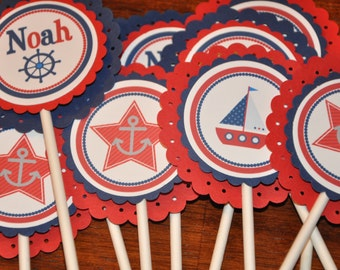 Cupcake Toppers. Nautical. Sailing. Cupcake Picks. Happy Birthday. Red. Blue. Personalized. Set of 12