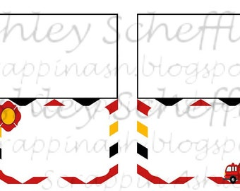 Firefighter. Fire truck. Printable. Food Signs. Place Cards. Tent Food Signs. Instant Download. PDF file.