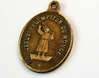 Antique Jesus Redempteur Religious Medal 1800s
