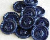 Vintage Buttons-Set of Twenty Vintage 1930's Dark Blue Plastic Buttons-VBP43 - 5/8""