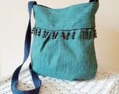 Crossbody Beaded Fringe Bag Pleated Purse Navy Turquoise