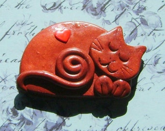 Polymer Clay bronze Happy Sleeping Cat with red heart Brooch or Magnet