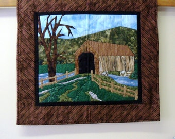 landscape scene covered bridge quilted fabric art wall hanging