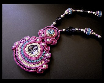 Fuchsia Dance - Soutache Embroidered Necklace in Pink, Purple, Blue & Silver OOAK
