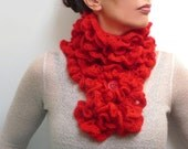 RESERVED - Crochet Chunky Scarf - Red Ruffle Scarflette - Neckwarmer - Romantic, Boho, Victorian, Bohemian - LITTLE PIERROT (extra long)