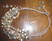 Monet's Watercolours Gemstone and Bead Crochet Cluster Necklace Strands Peruvian Opal
