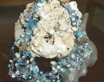Seabreeze - Strands of Ocean Color in Handmade Bead Crochet Necklace with Shell Beads, Gemstone Chips
