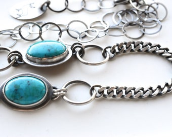 TODAYS SALE ITEM 20 Dollars Off - Stylish Turquoise Necklace in a Modern Silver and Stone Composition, Oxidized Metalwork, Industrial Design