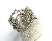 SALE Looped Wire Wrapped Ring on Dotted Metal Band (R354AA)