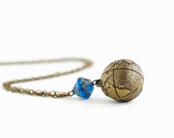 Globe Necklace - Gift For Woman - Globe Pendant - Brass Globe - Blue Glass Bead - Wanderlust - Gift For Traveler - Graduation Gift