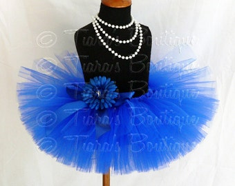 "Girls Tutu Skirt - Royal Blue Tutu - Birthday Tutu - Boisterous Blue - Custom Sewn 8"" Tutu - sizes Newborn to 5T"