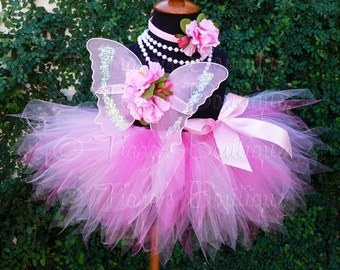 Baby Tutu Butterfly Wings - Pink Tutu - 1st Birthday Girl Tutu Set - Sewn 8'' Pixie Tutu Fairy Wings & Headband