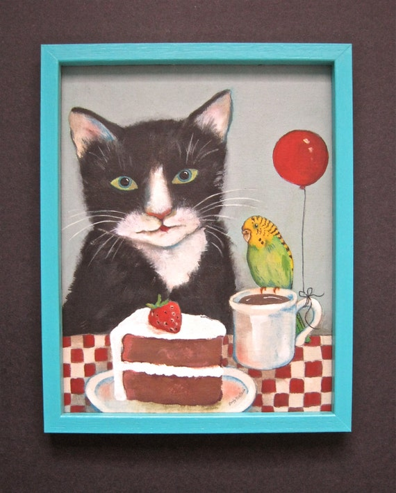 cat art painting- Parakeet- colorful- wood frame - red balloon- acrylic- gallery art- red check- chocolate cake- strawberry-