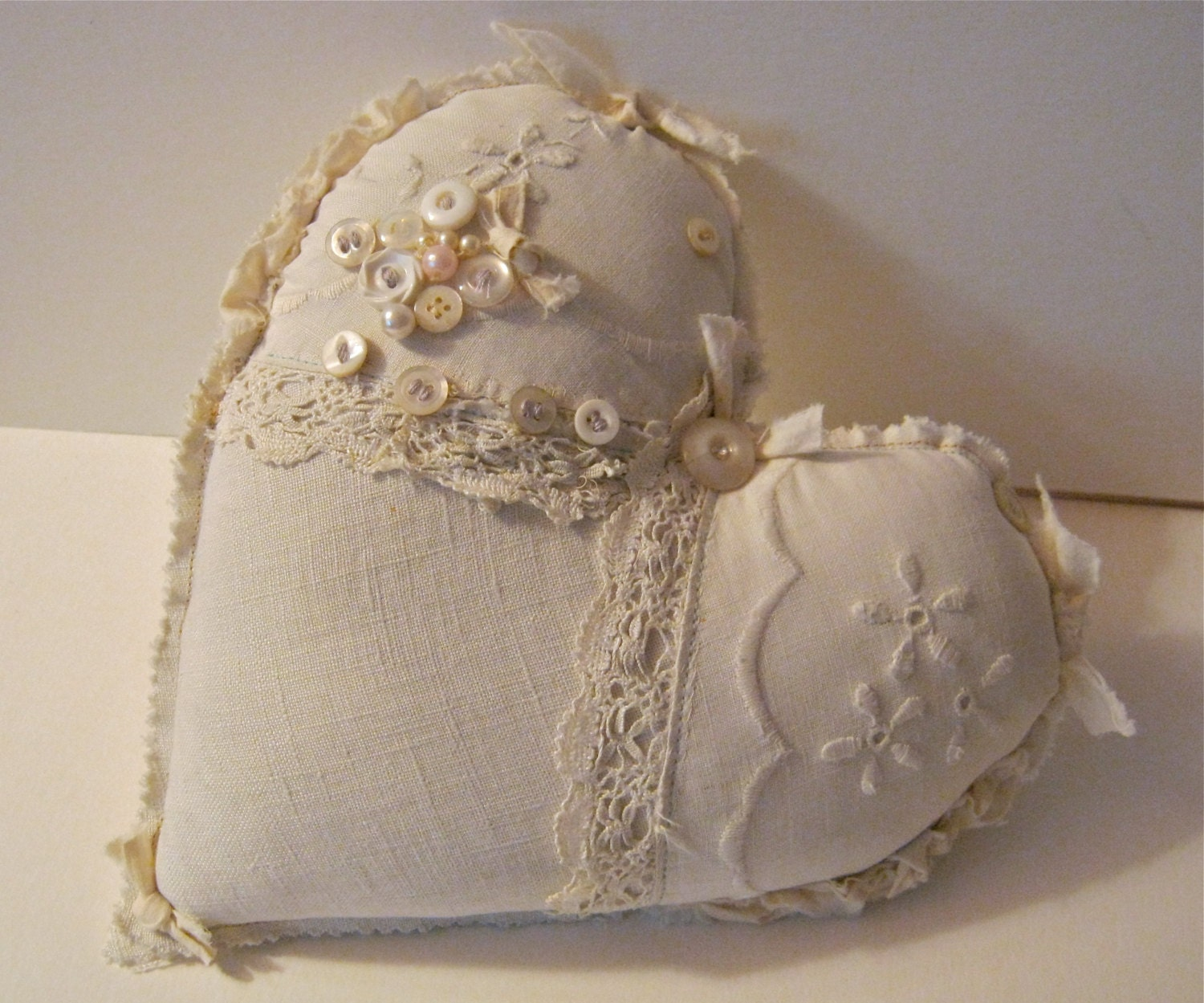 fabric ooak heart pillow pretty shabby chic pillow. Black Bedroom Furniture Sets. Home Design Ideas
