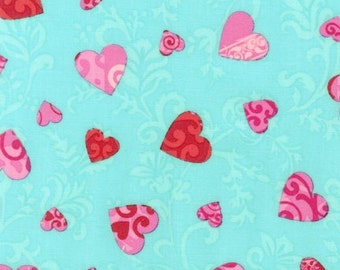Love Hearts on Aqua, from Robert Kaufman,  Half yard