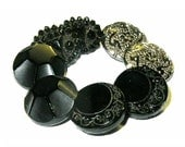 Antique Black Glass Butto...
