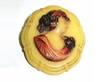 Antique Celluloid Cameo Brooch Art Deco Stepped Up Frame Embedded C Clasp