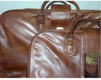 Vintage Leather Luggage Set 2 Pieces Roberta di Camerino Italy ca 1960s
