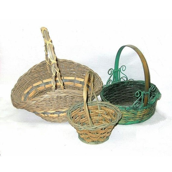 Woven Basket Art : Reserved for c antique art deco wicker woven basket trio sml