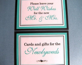 5x7 Flat Wedding Paper Sign Package in Black and White and Aqua or Pool Blue  - Cards and Gifts for the Newlyweds and Wedding Guest Book