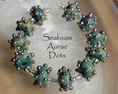 11 Sea Foam Aurae Dots, handmade glass beads, bumpy gold dots by Beadfairy Lampwork, SRA