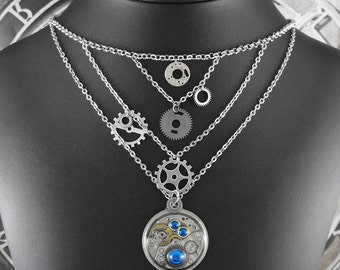 FEATURED in ACF MAGAZINE Blue Silver Gears Bib Necklace - Nothing But Blue Skies in Our Mechanical World by COGnitive Creations