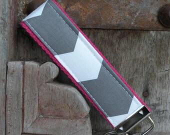 READY TO SHIP-Beautiful Key Fob/Keychain/Wristlet-Gray Chevron on Hot Pink