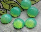 Green Opal Glass Round 11mm Cabochons 6 Pcs