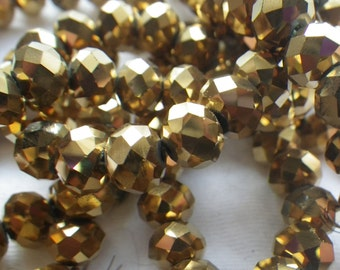 Dark Gold Electroplated 8x6mm Fire Polished Rondelle Beads 20 Pcs