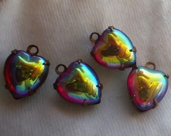 Siam AB Glass 10mm Heart Drops 4 Pcs