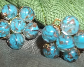 Vintage MURANO Italian Glass Earrings - Signed Made in Italy