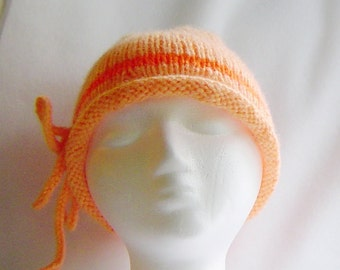 Hand knit hat, spring accessory, peach and orange cloche, rolled brim mohair beanie