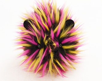 Stuffed Animal Stuffed Guinea Pig Cute Plush Toy Kawaii Plushie Zena the Hot Pink Yellow & Black Spiky Snuggly Faux Fur Toy Large 6x10 Inch