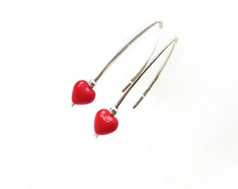 Red Heart Earrings, Silver, Handmade Jewelry