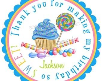 Boys Cupcake Stickers, Blue Wonderland Sweet Shoppe, boys Cupcake, boys Candy, Lollipop, Sweet Tarts, Gumballs, Birthday, Children, favor