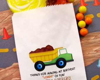 Contruction Candy Bags, Construction Birthday party,Dump truck Favor bags,  Dump truck favors, Candy Buffet, Birthday party, Sweets, Treats