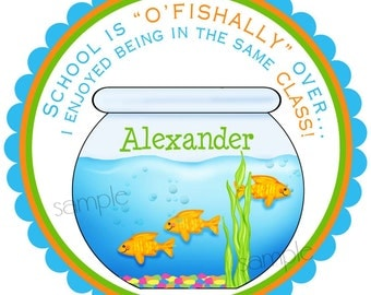 Fish stickers, Schools Out, School is Ofishally over, Goldfish, Ocean, Under the Sea, favor, stickers, labels,set of 12