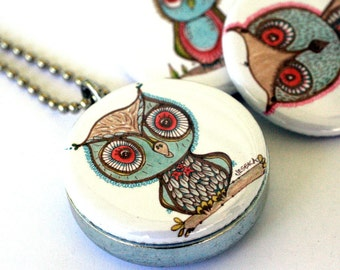 Owls (recycled magnetic locket set)