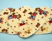 Cowboy Teddy Bears Double Layer Flannel Washcloths Set of 3