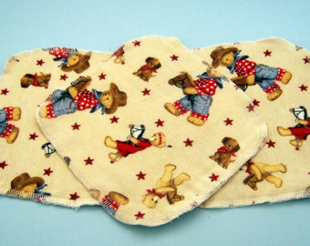 Cowboy Teddy Bears Double Layer Flannel Washcloths Set of 3