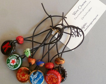 Upcycled Beer Cap  Wine or Beer  Charms