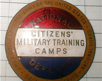 Enameled Citizens Military Camp Badge - Vintage 40s Civilian Militia
