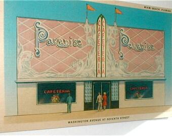 1930s Paradise Cafeteria Post Card - Bees Knees Paper Ephemera - Miami Beach Florida Memorbilia
