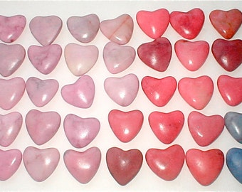 Carved Marble Hearts - Dyed Stone Puff Hearts - Selection of 5 - Supplies for Valentines Day
