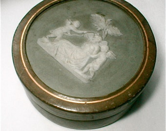 Antique Wedgwood Medallion Leather Jewelry Box - Silk Satin Lined Vintage 1920s