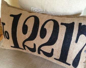 Burlap Zip Code Pillow - Your Custom Number Here - Address - Wedding Date - Zip Code