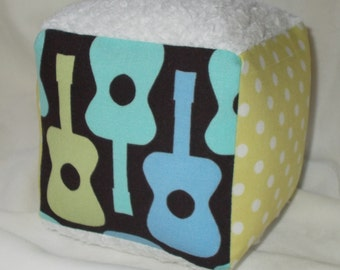 Boy Groovy Guitars Fabric Block Rattle
