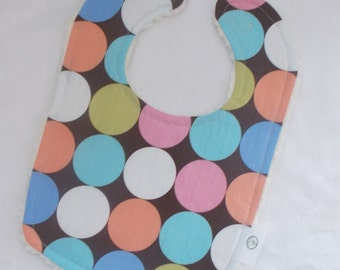 Brown Disco Dot and Chenille Bib