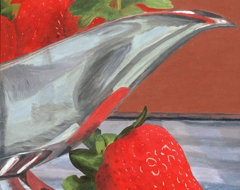 Strawberries and cream silver pitcher reflections in red Giclee Reproduction 10x10