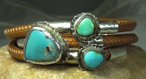 Turquoise Bangle Bracelet, Turquoise and Silver Cuff bracelet, leather and stone bracelet